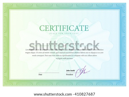 Certificate. Template diplomas currency. Award background. Gift voucher. Vector - stock vector