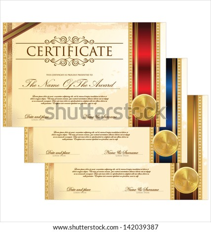 Certificate template set - stock vector