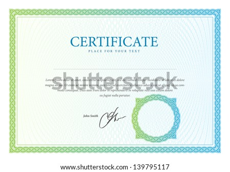 Certificate template. Vector pattern that is used in currency and diplomas - stock vector