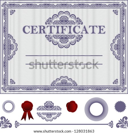 Certificate Template with additional elements. - stock vector