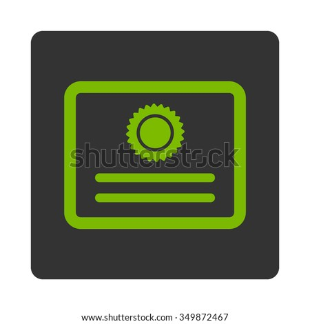 Certificate vector icon. Style is flat rounded square button, eco green and gray colors, white background. - stock vector