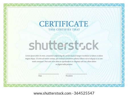Certificate. Vector pattern that is used in currency and diplomas - stock vector