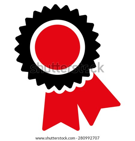 Certification icon from Competition & Success Bicolor Icon Set. This isolated flat symbol uses modern corporation intensive red and black colors. - stock vector