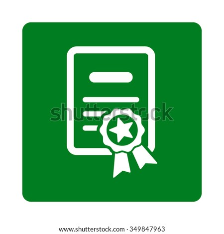 Certified Certification vector icon. Style is flat rounded square button, white and green colors, white background. - stock vector