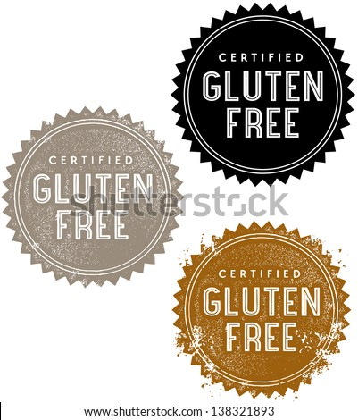 Certified Gluten Free Food Stamp - stock vector