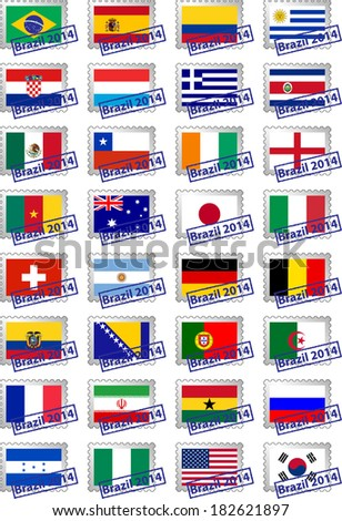 Certified postage stamps with flags of the participating countries in Brazil 2014 - stock vector