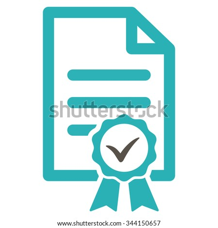 Certified vector icon. Style is bicolor flat symbol, grey and cyan colors, rounded angles, white background. - stock vector