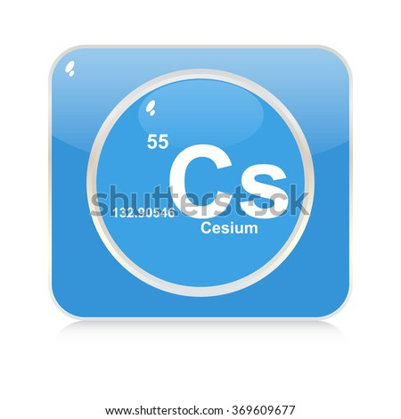 cesium chemical element button - stock vector
