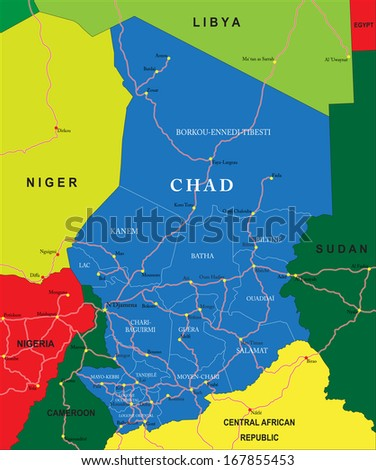 Chad map - stock vector