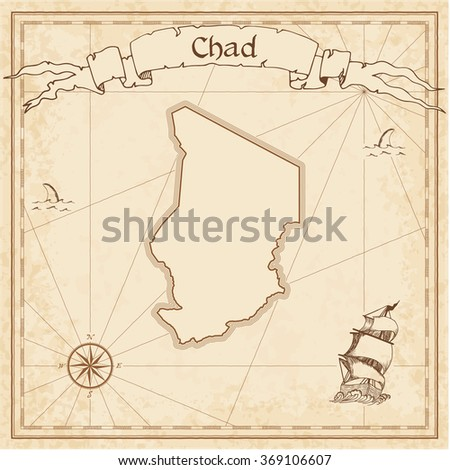 Chad old treasure map. Sepia engraved template of Chad treasure map. Stylized Chad treasure map on vintage torn paper. - stock vector