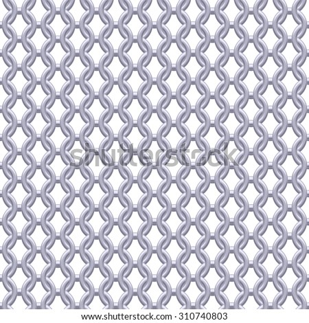 Chain armor, coat of mail seamless realistic metallic silver texture. Abstract background vector illustration. - stock vector