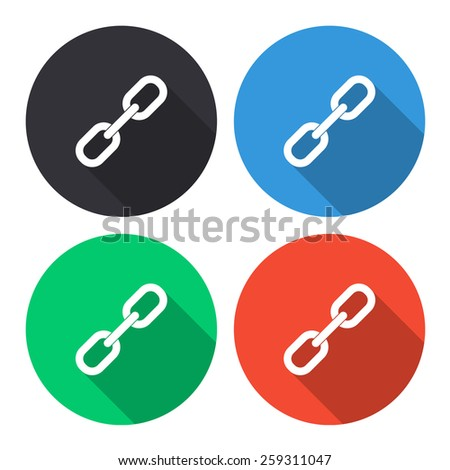 chain link vector icon - colored(gray, blue, green, red) round buttons with long shadow - stock vector