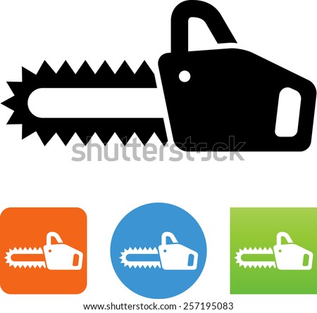 Chain saw symbol. Vector icons for video, mobile apps, Web sites and print projects.  - stock vector