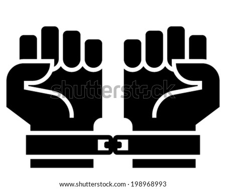 Chained hands icon - stock vector
