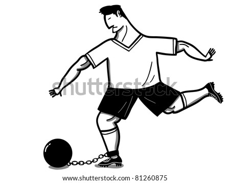 chained soccer player kicks the iron ball - stock vector