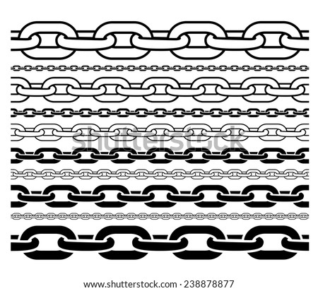 CHAINS OUTLINE AND SILHOUETTE PATTERN IN DIFFERENT SIZE FOR BRUSH STROKES, BACKGROUNDS ETC. - stock vector