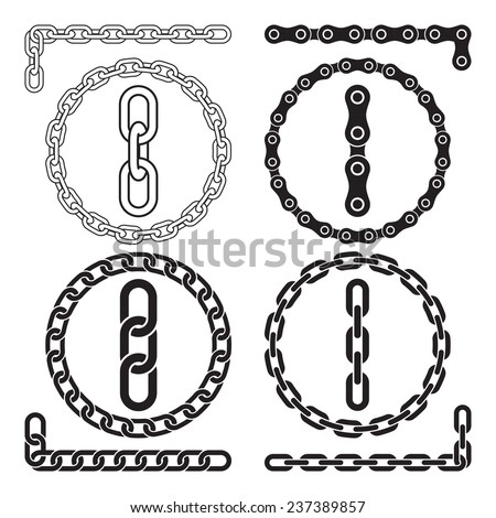 Chains. Vector illustration. Chain icons, parts, circles of chains. The file contains pattern brushes for all the four types of chains - stock vector
