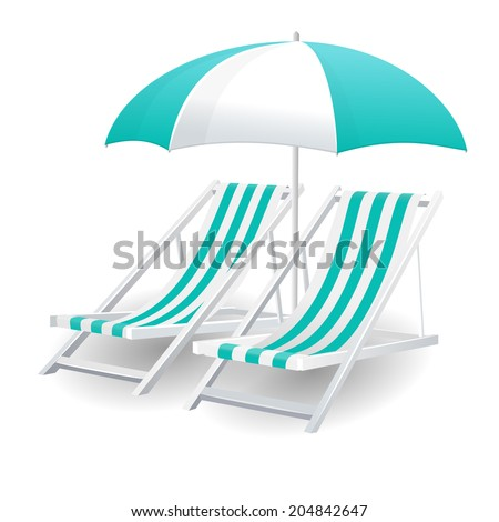 Chair and beach umbrella isolated on white background - stock vector
