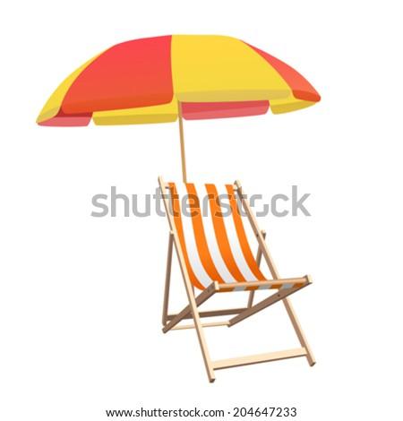 Chair and beach umbrella vector - stock vector