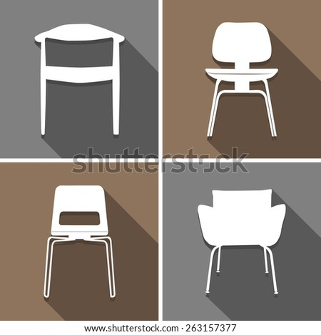 chair icons set great for any use. Vector EPS10. - stock vector