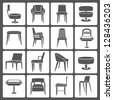 chair set, icon set - stock vector