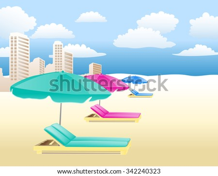 chairs with umbrellas on the beach with clouds and houses - stock vector
