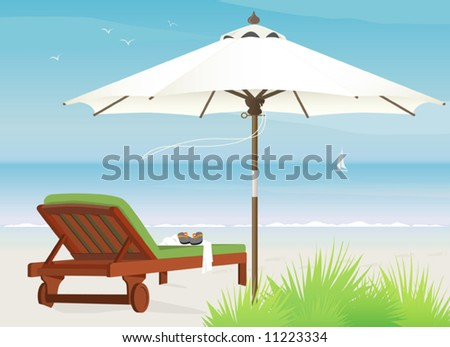 Chaise lounge at the beach with market umbrella; easy-edit layered file - stock vector