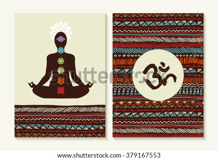 Chakra concept set with body silhouette doing lotus yoga pose and boho background designs. EPS10 vector. - stock vector