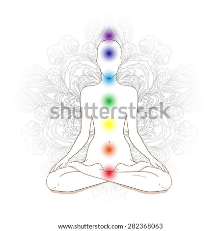 Chakras concept. Silhouette in lotus position over gray ornate mandala. Vector illustration.  - stock vector