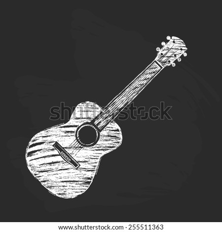 Chalk acoustic guitar - stock vector
