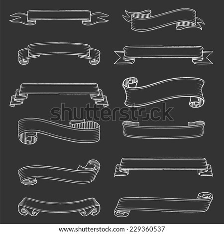 Chalk Banners Set - Set of vintage chalkboard banners. Each object is grouped for easy editing. - stock vector