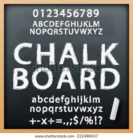 chalk board alphabet font set in vector format - stock vector
