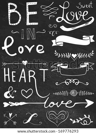 Chalk board hand drawn calligraphy set - love and heart - stock vector