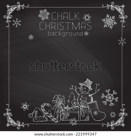 Chalk Christmas background. Vintage frame, snowflakes and Christmas objects on chalkboard background. - stock vector