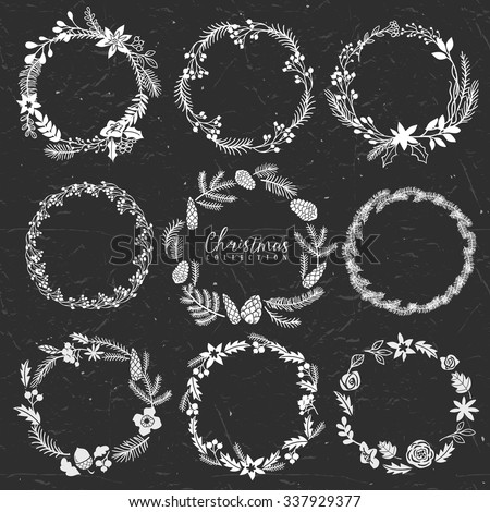 Chalk decorative greeting wreaths. Christmas collection. Hand drawn illustration. Design elements. - stock vector