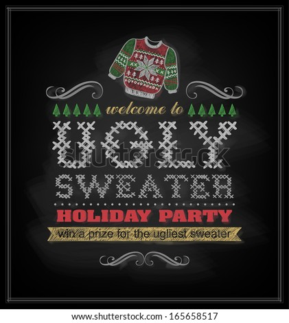Chalk drawn Christmas invitation on ugly sweater holiday party. - stock vector