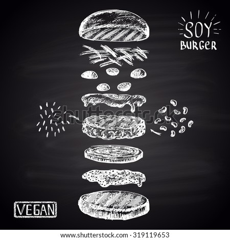 Chalk drawn illustration with ingredients of vegan burger (soybean, brown rice). No meat! - stock vector