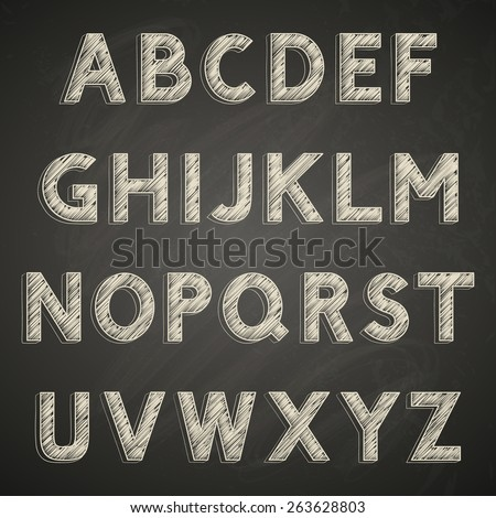 Chalk font on blackboard - stock vector