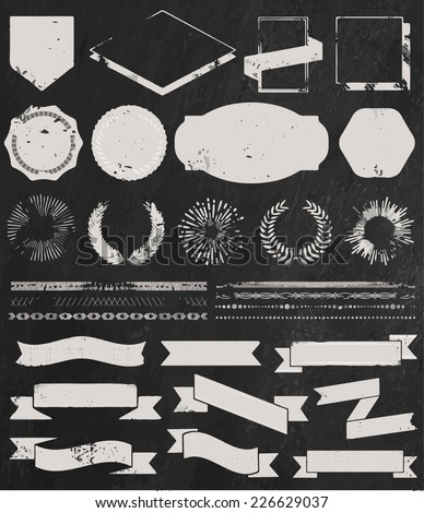 Chalk grunge textured set of vintage styled design hipster icons. Vector signs and symbols templates for your design, logo and badge on chalkboard background. - stock vector