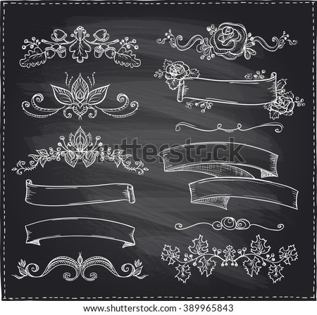Chalk hand-drawn graphic line elements, love and wedding theme, vintage style ribbons, floral bunches and dividers on a chalkboard - stock vector