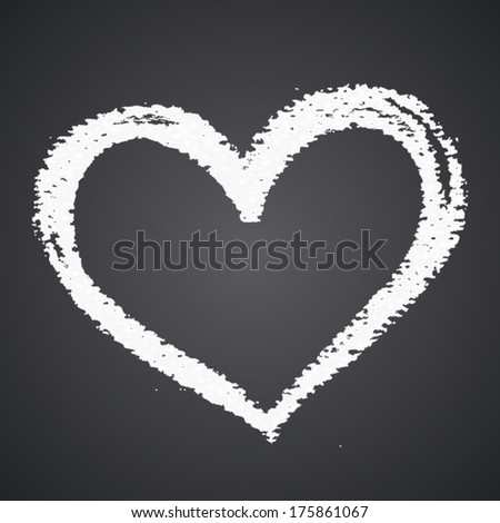 Chalk heart, vector element for your design, valentine's day card concept - stock vector