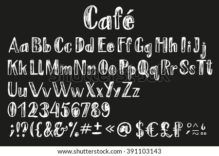 Chalk latin alphabet. Font with multilingual support, numbers, all letters, money symbols, diacritics and other signs. - stock vector