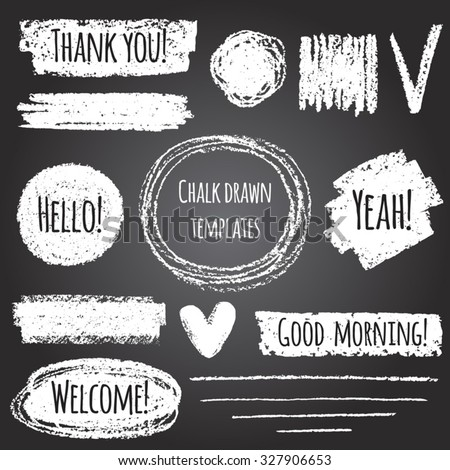Chalk or pencil drawn graphic elements collection - strokes, stripes, frames, rectangle, oval and round shapes, heart, tick. Chalk forms on black board with lettering - thank you, hello, welcome etc.  - stock vector