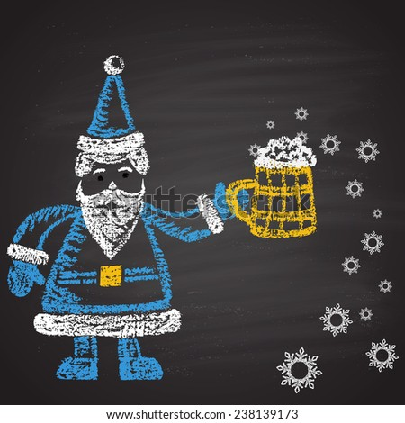 Chalk painted colored illustration of Santa with full mug of beer with snowflakes. Happy New Year theme. Card design. - stock vector