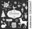 Chalk set of decorative festive illustrations. Christmas collection. Hand drawn illustration. Design elements. Vol.3 - stock vector