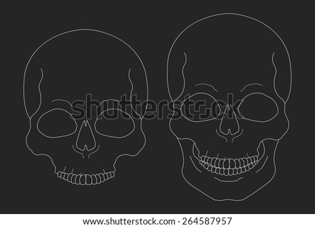 Chalk skull vector clip art illustrations isolated on blackboard - stock vector