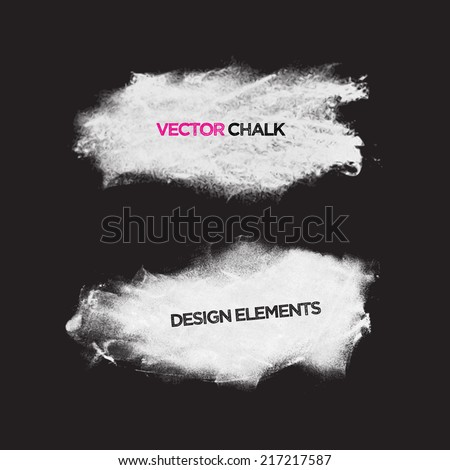 Chalk texture grunge banners. Vector design elements. - stock vector