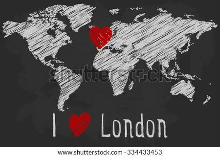 Chalk world map I love London - stock vector
