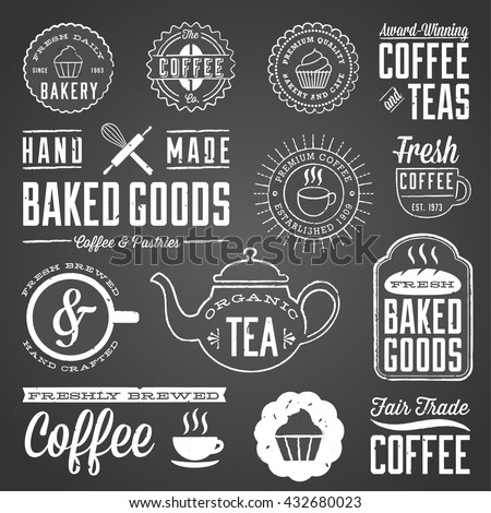 Chalkboard Cafe and Bakery Designs - Set of chalkboard labels and design elements. Colors are global and each design is grouped for easy editing.   - stock vector