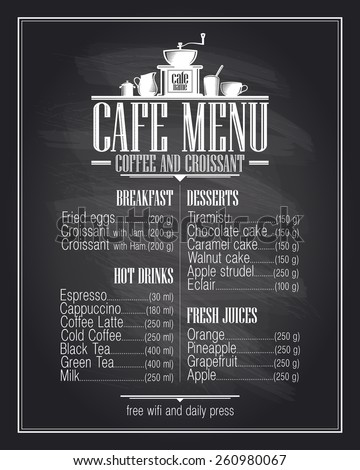 Chalkboard cafe menu list design with dishes name, retro style. - stock vector